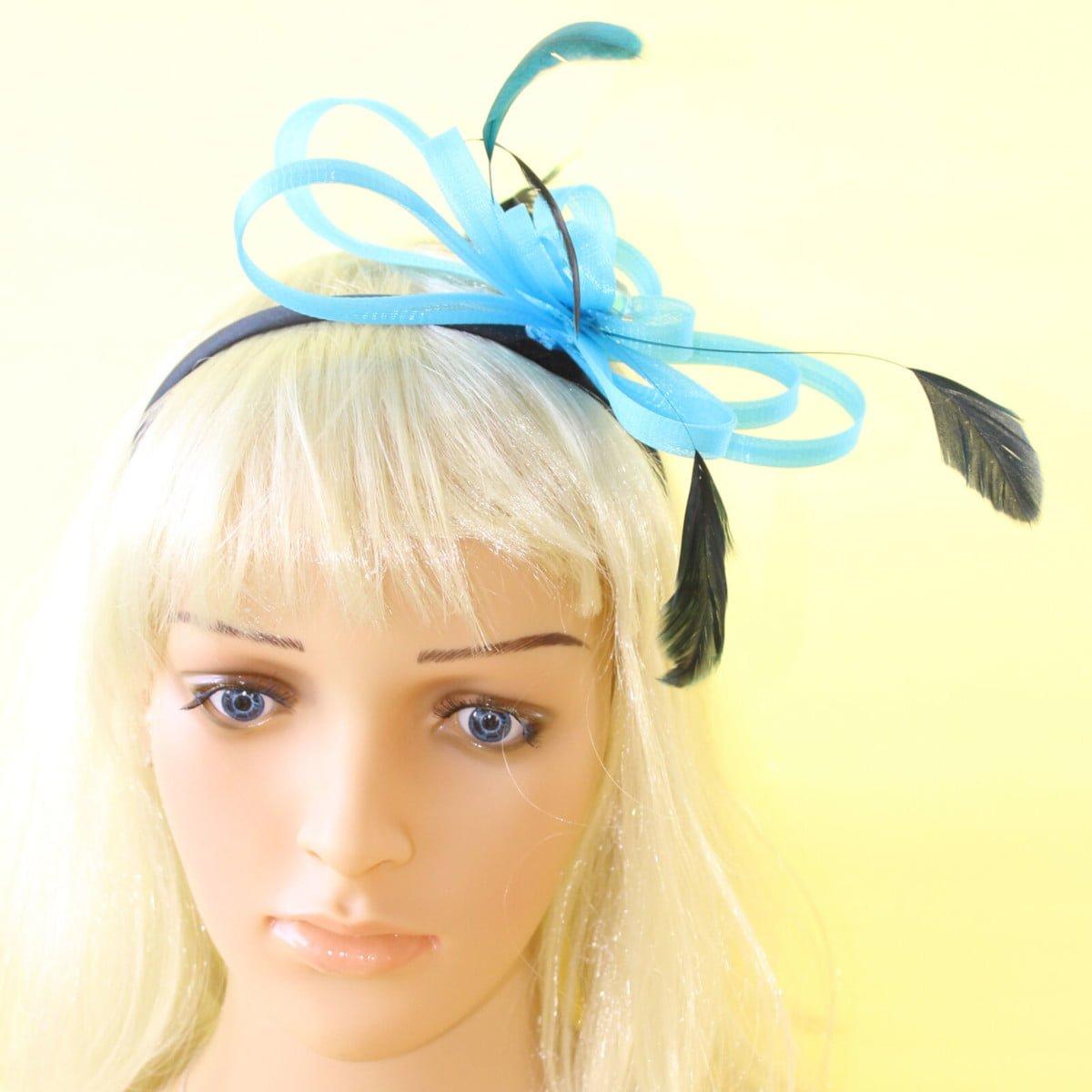 Aqua fascinator with looped ribbon, black feathers and gem on black aliceband 1