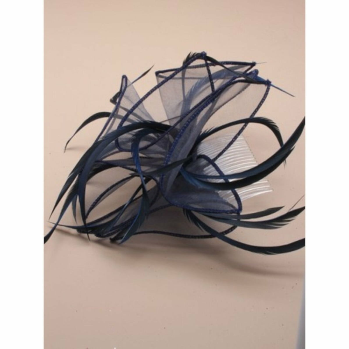 Navy blue fabric fascinator on comb 2