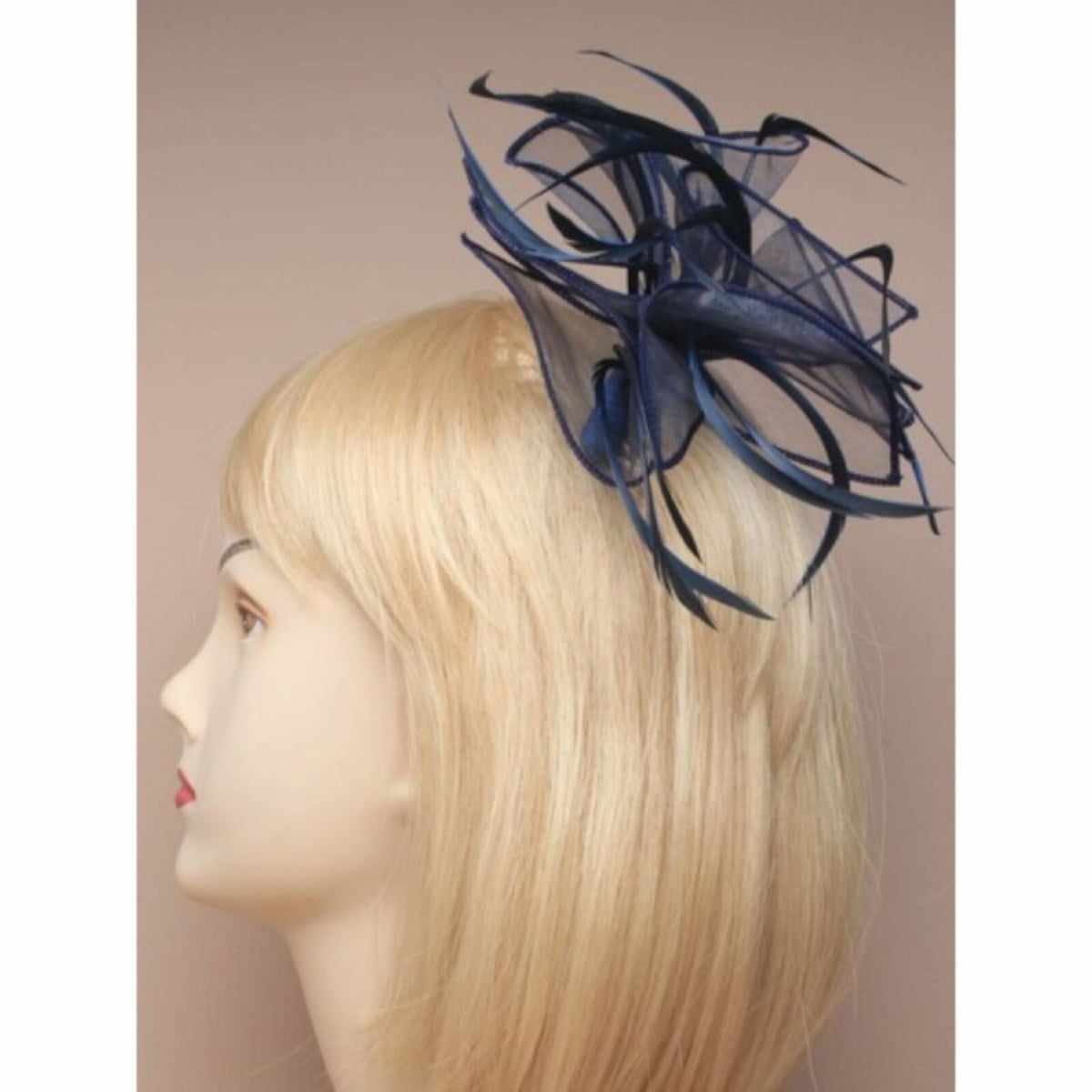 Navy blue fabric fascinator on comb 1