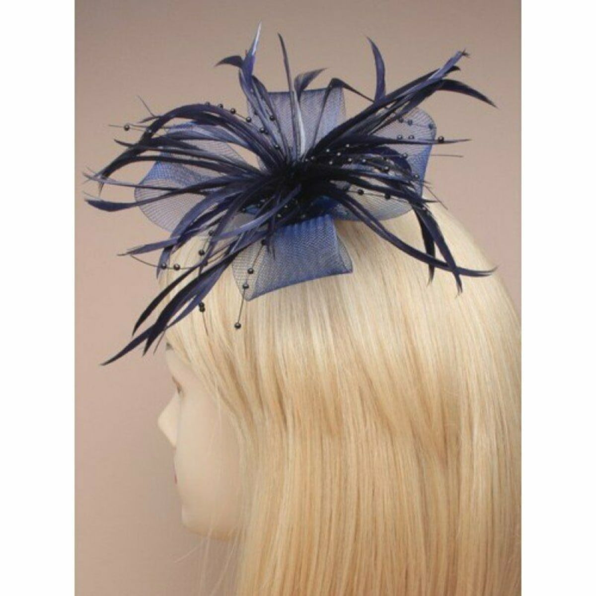 Navy blue fascinator with net loops and feather tendrils (beak clip and pin) 1