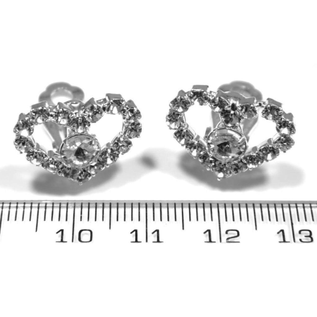 Crystal heart clip on earrings in silver plate ruler
