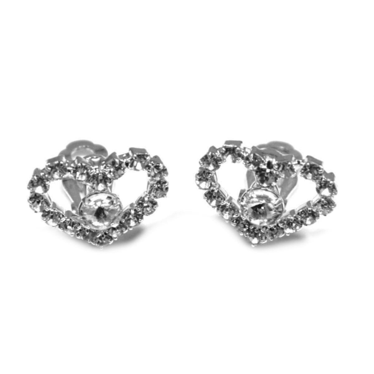 Crystal heart clip on earrings in silver plate