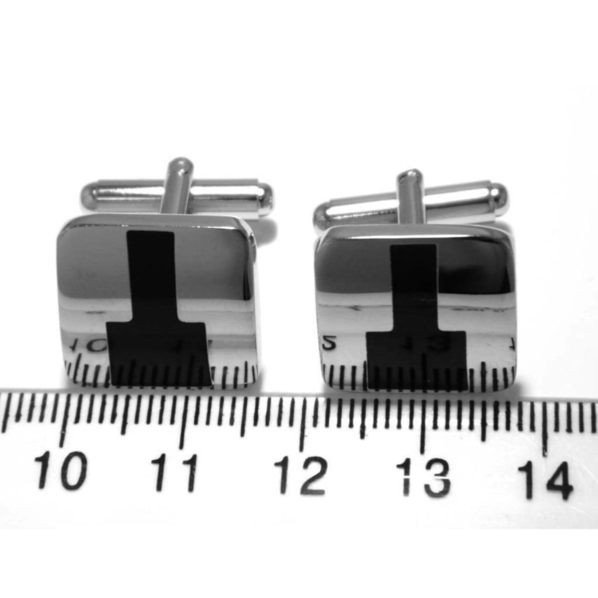 Cufflink set in silver plate ruler