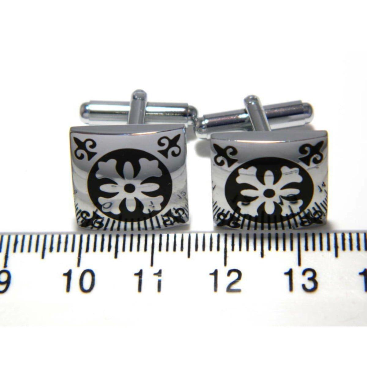 Cufflink set silver plated ruler