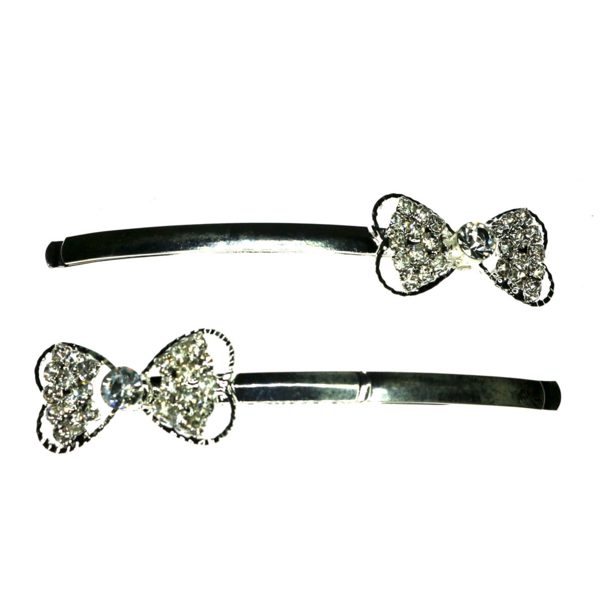 Diamante silver bow shaped hair slide.