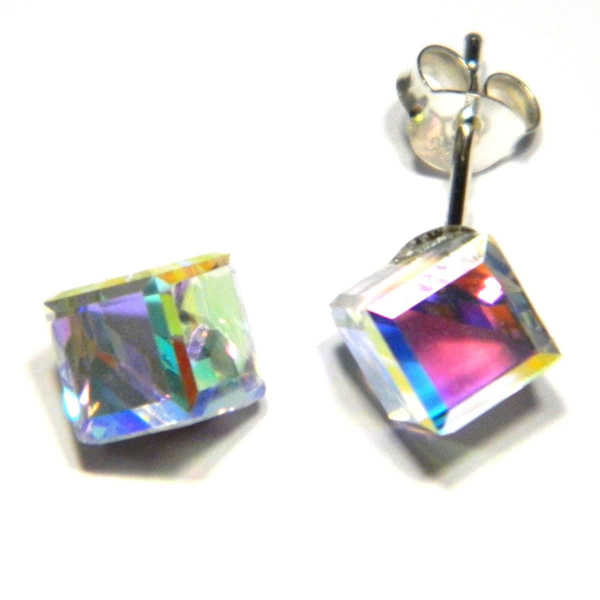6 mm cube aurora borealis crystal stud earrings in sterling silver