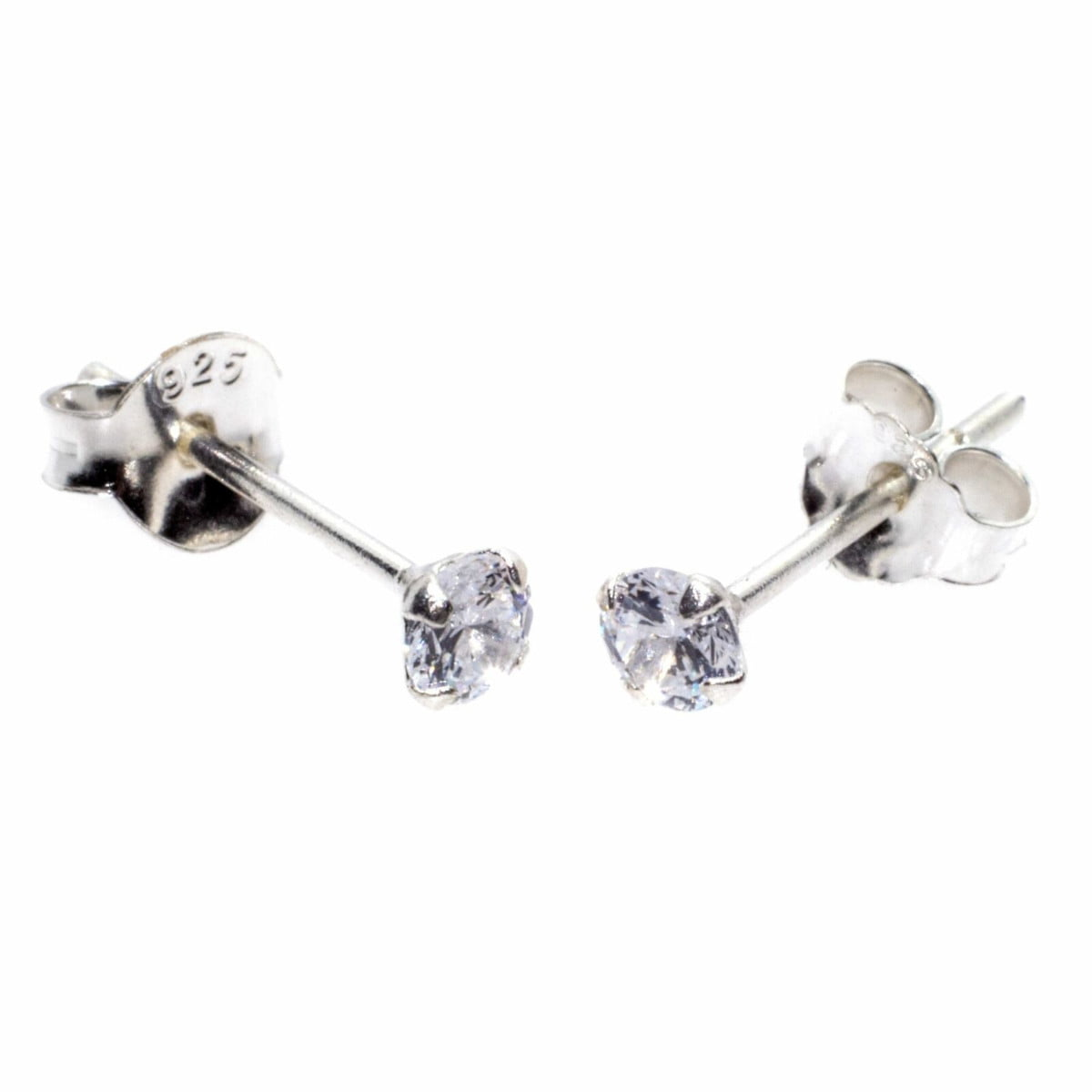 3 mm clear CZ stud round solitaire earrings in sterling silver 1
