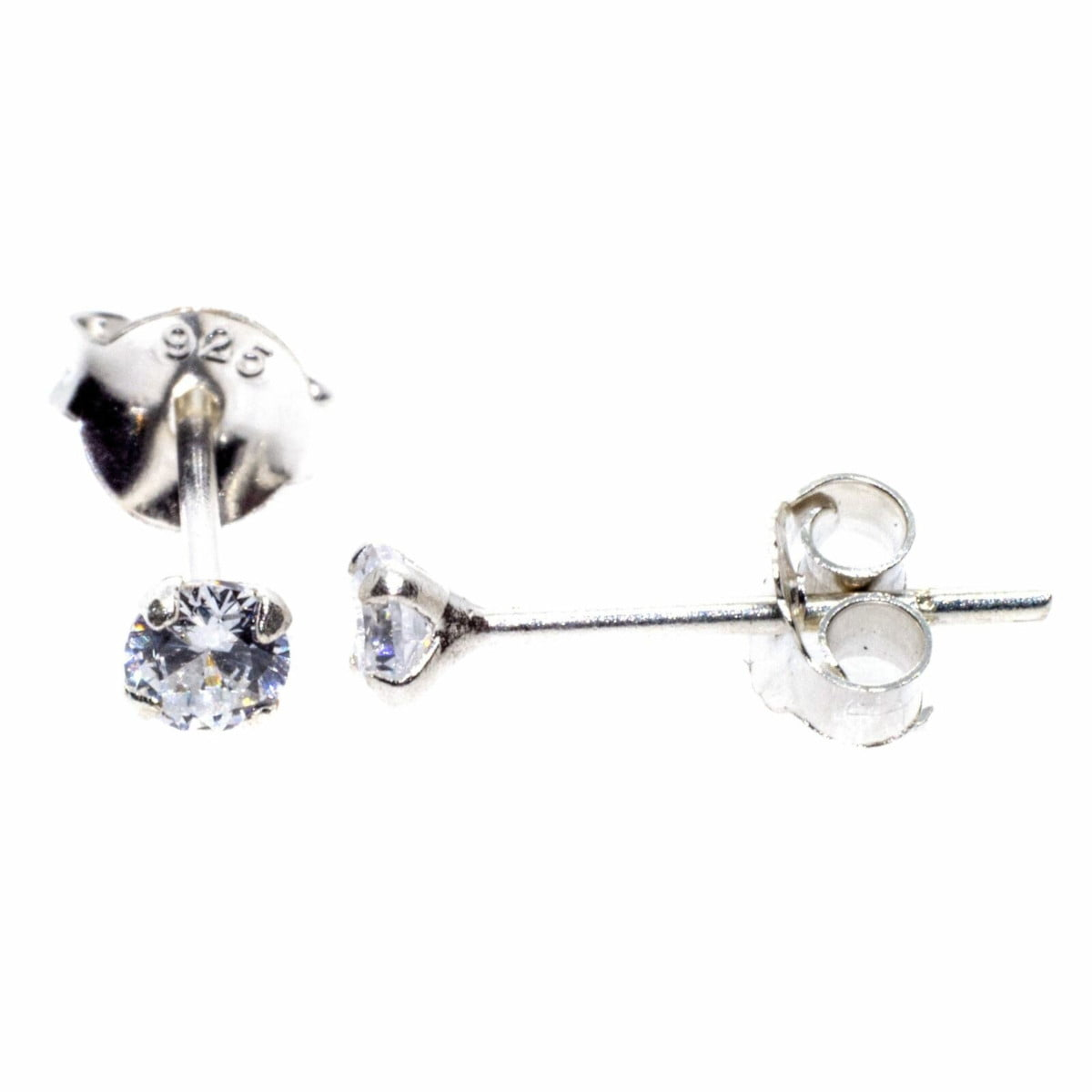 3 mm clear CZ stud round solitaire earrings in sterling silver