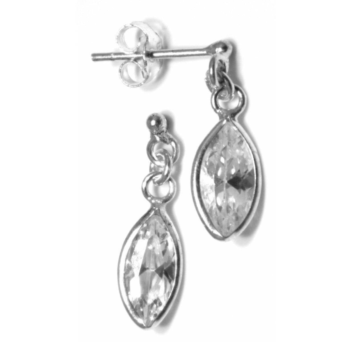 10 mm x 5 mm CZ oval drop earrings in sterling silver