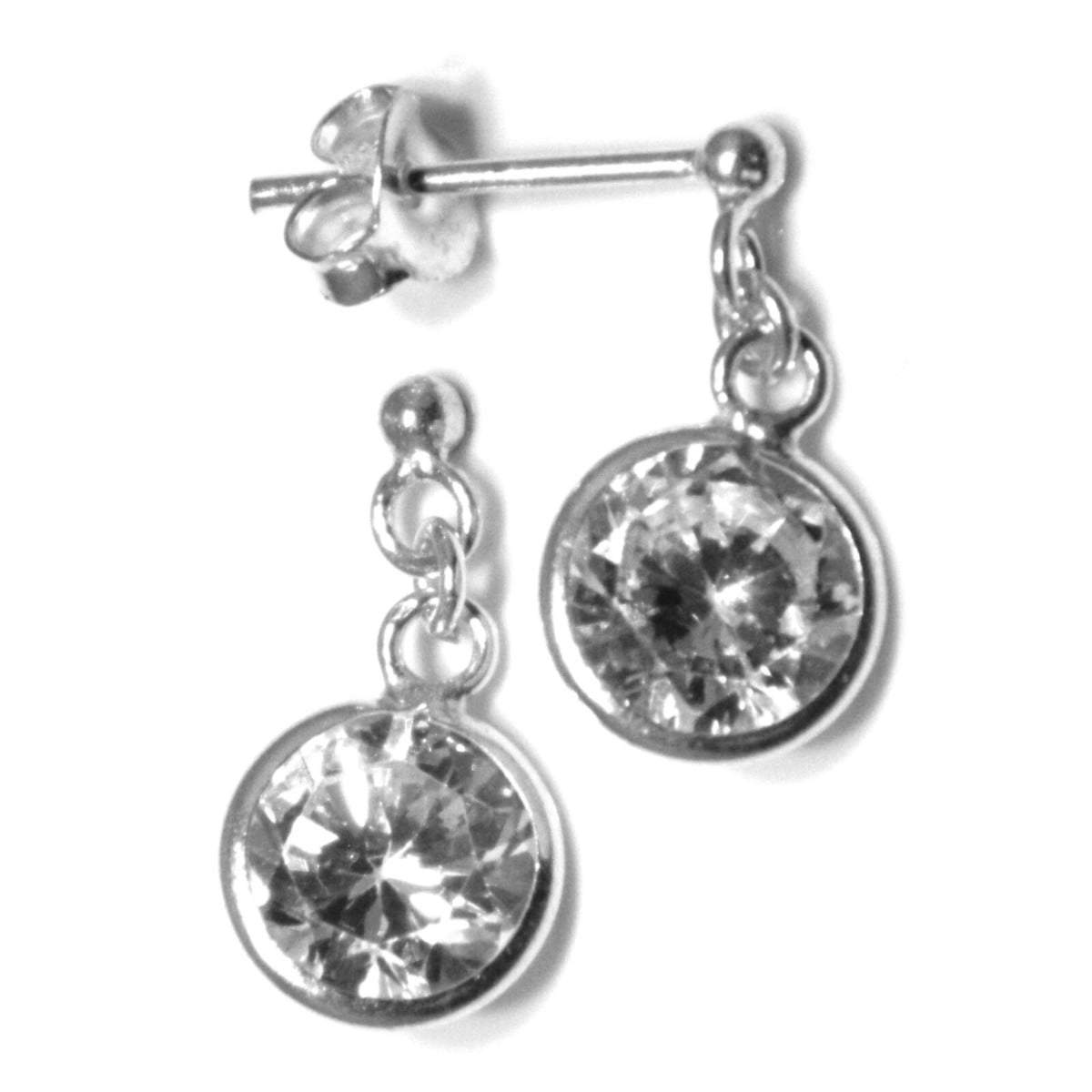 7 mm round CZ drop earrings in sterling silver