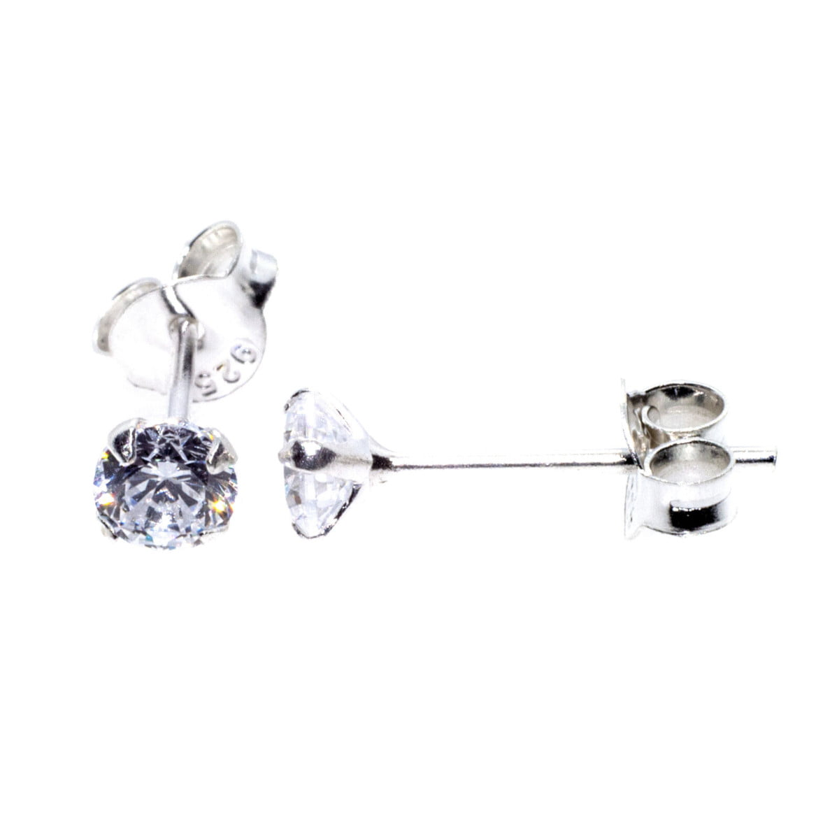 4 mm clear CZ stud round solitaire earrings in sterling silver 1
