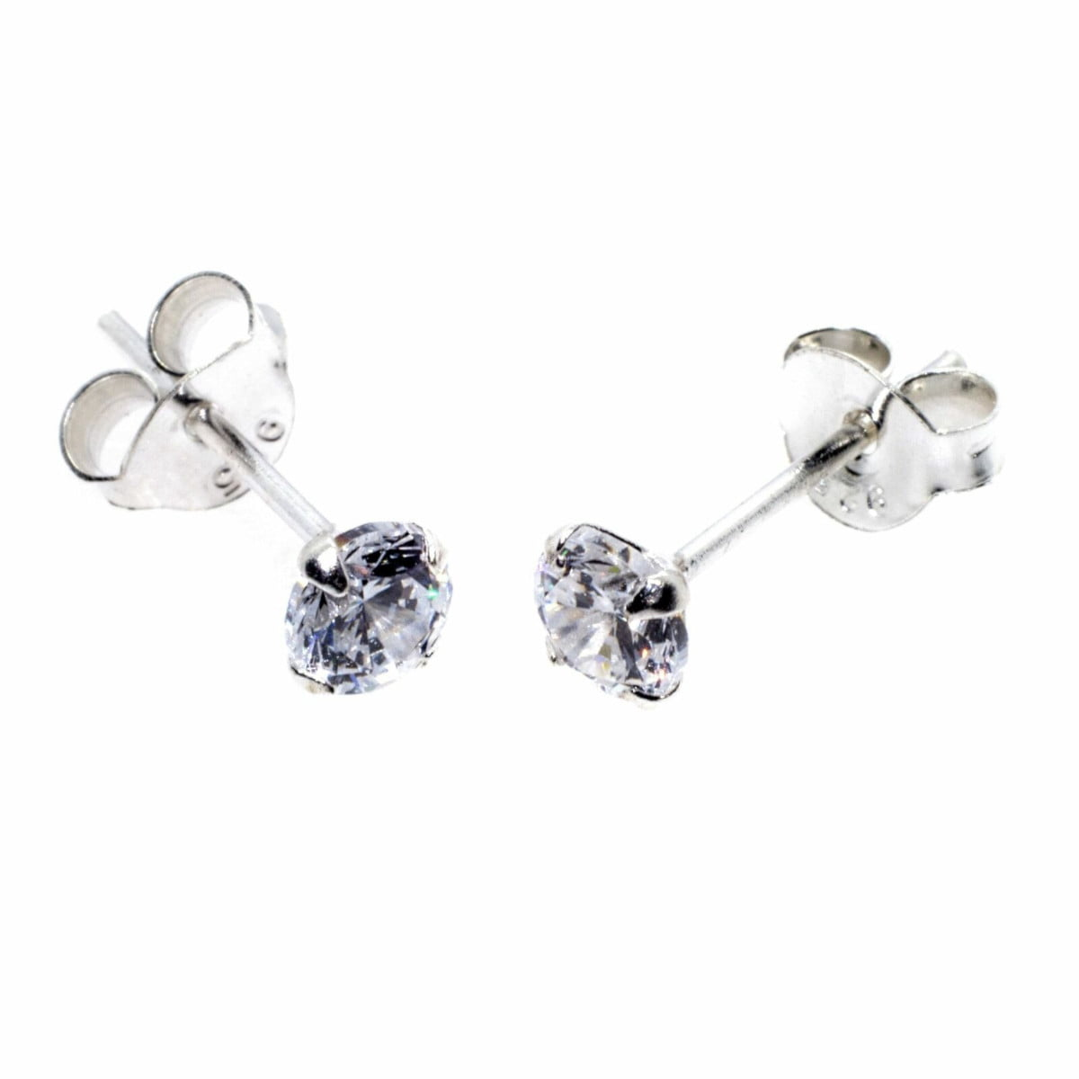 4 mm clear CZ stud round solitaire earrings in sterling silver