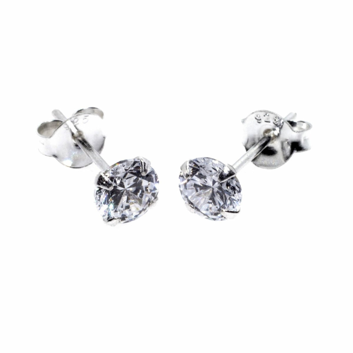 5 mm clear CZ stud round solitaire earrings in sterling silver 1