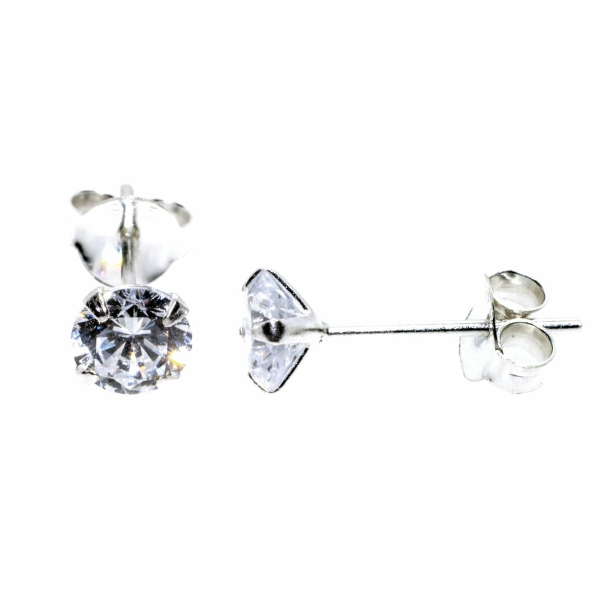5 mm clear CZ stud round solitaire earrings in sterling silver