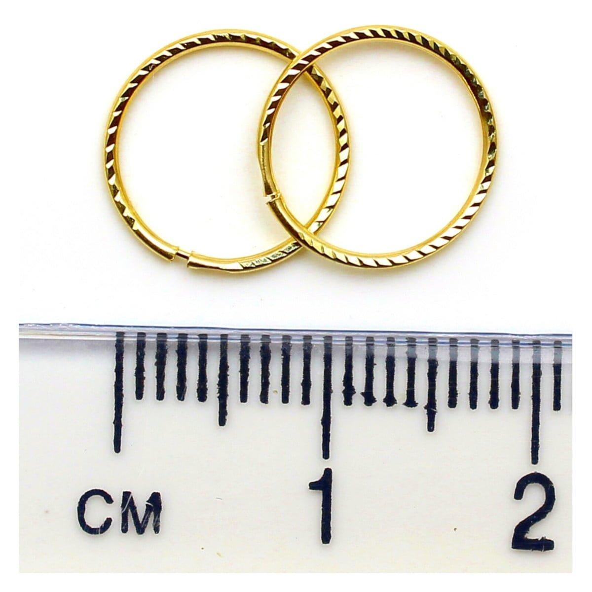 12 mm diamond cut sleeper hoops (1 pair) in 9ct yellow gold ruler