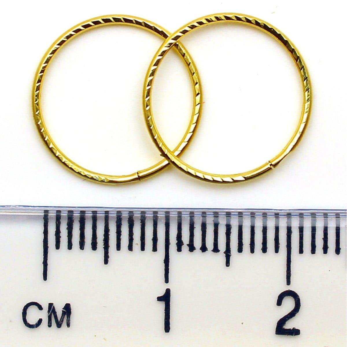14 mm diamond cut sleeper hoops (1 pair) in 9ct yellow gold 1