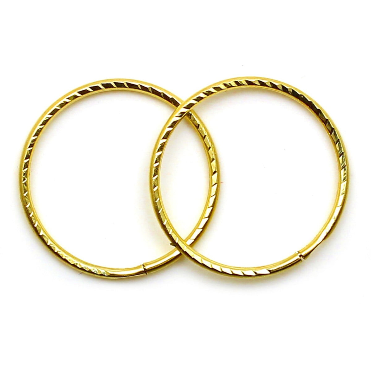 14 mm diamond cut sleeper hoops (1 pair) in 9ct yellow gold
