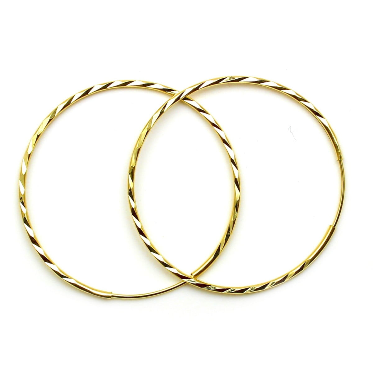 22 mm diamond cut sleeper hoops (1 pair) in 9ct yellow gold