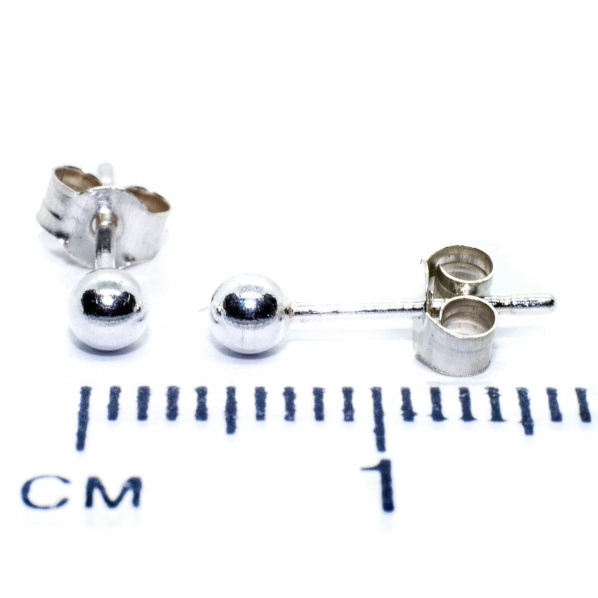 3 mm ball stud earrings in sterling silver 2
