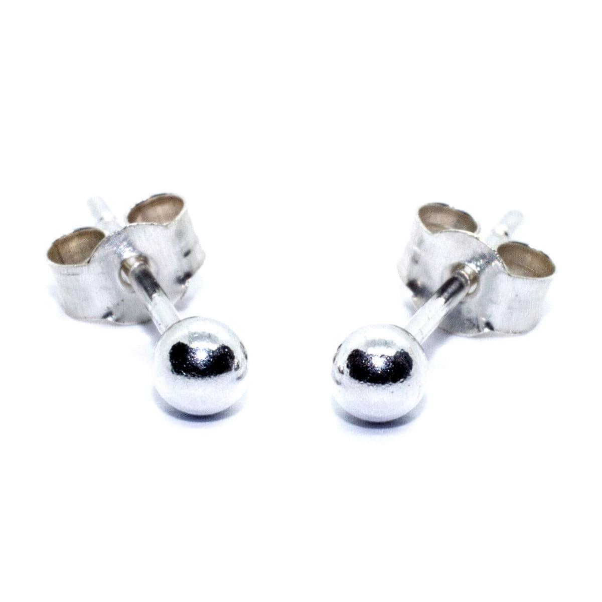 3 mm ball stud earrings in sterling silver 1