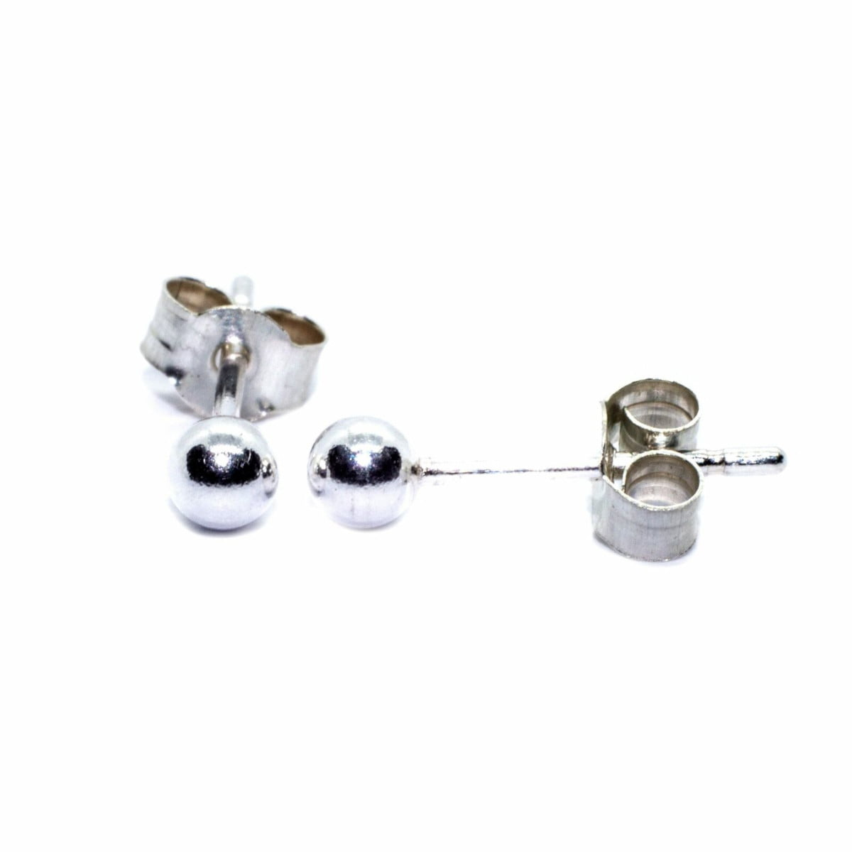 3 mm ball stud earrings in sterling silver