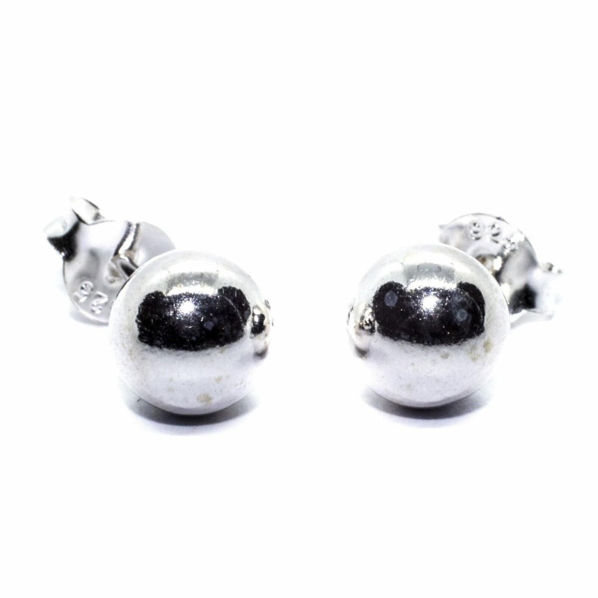 6 mm ball stud earrings in sterling silver 1
