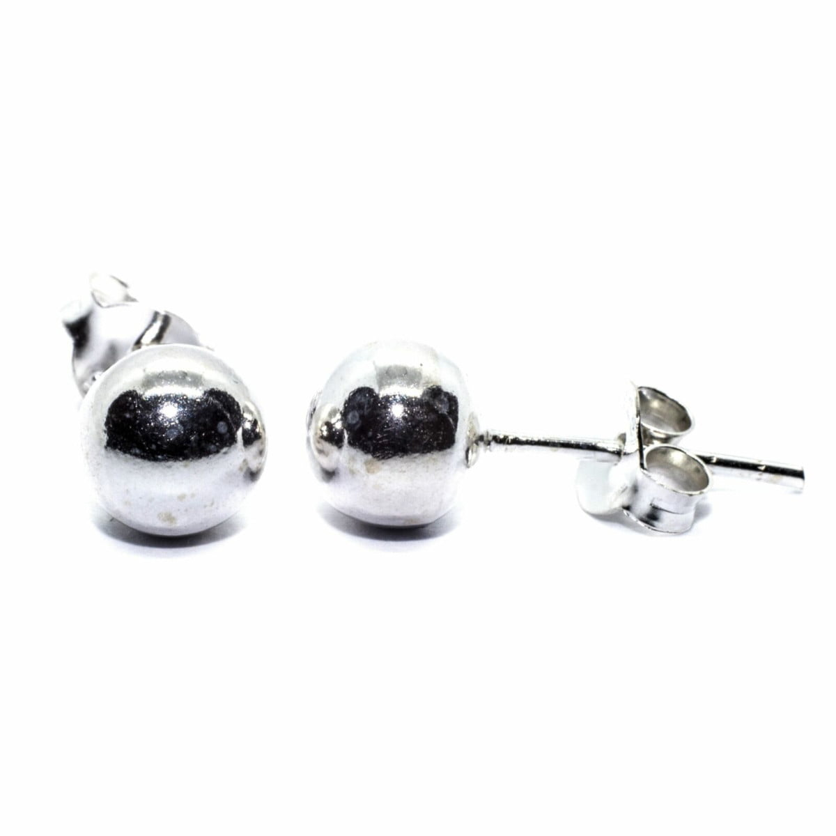 6 mm ball stud earrings in sterling silver