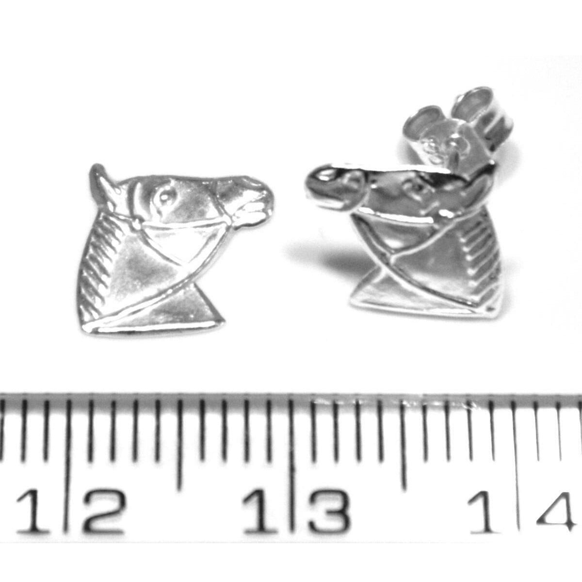 Horse head stud earrings in sterling silver ruler