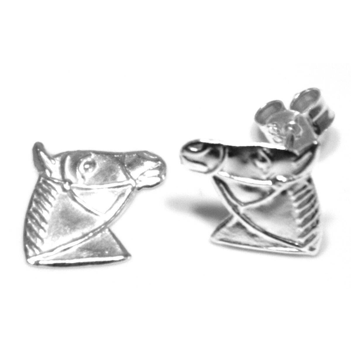 Horse head stud earrings in sterling silver