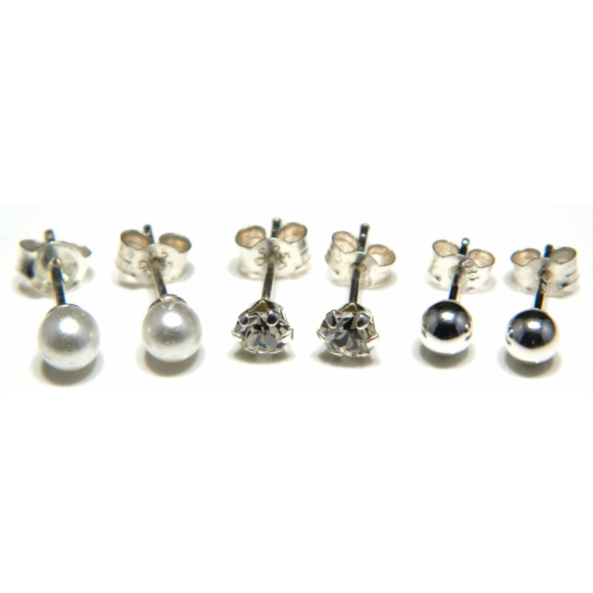 3 pairs (4 mm ball, pearl, and CZ) stud earrings in sterling silver