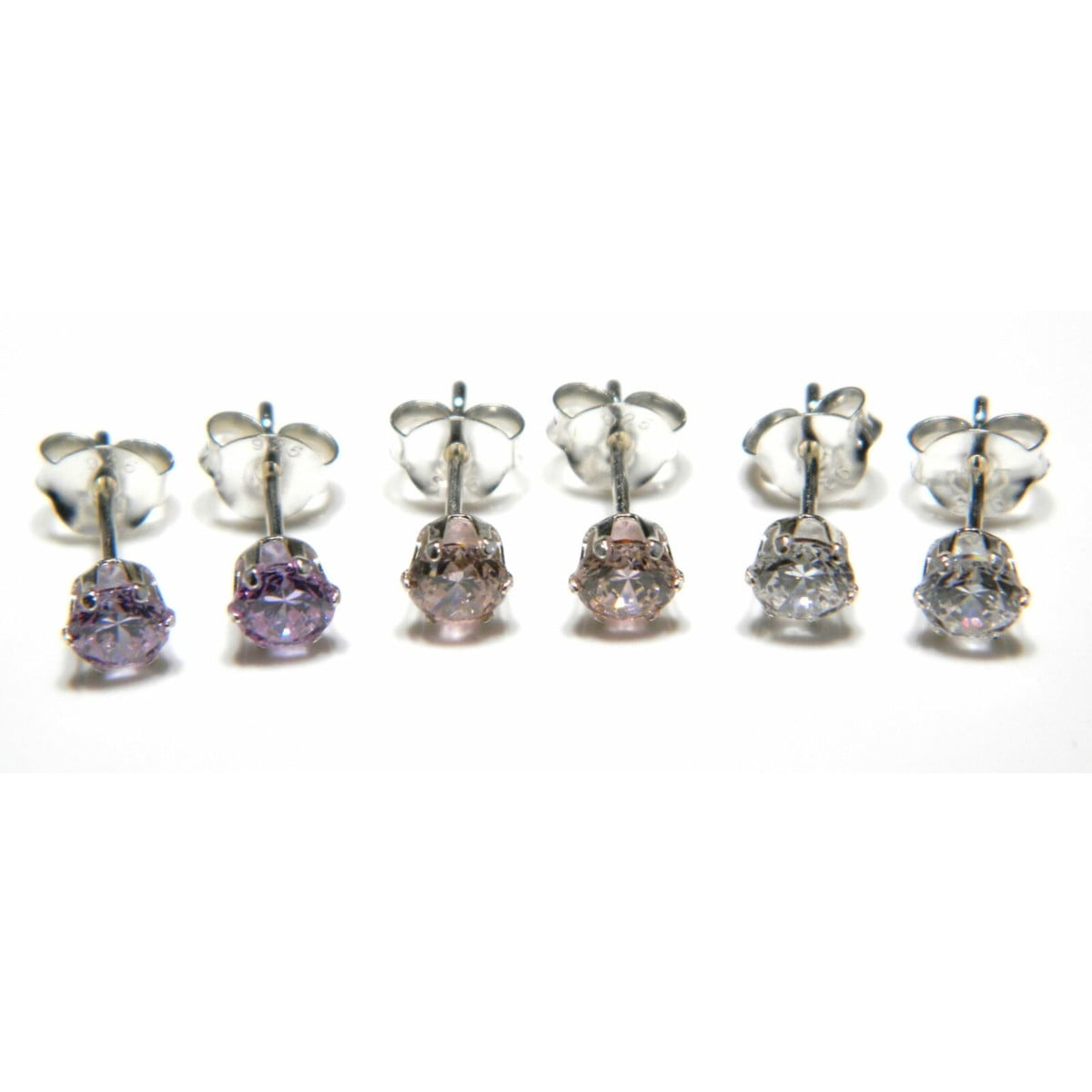 3 pairs (4 mm in white, pink, and lavender) of CZ stud round solitaire earring in sterling silver