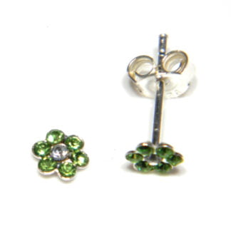 Green crystal flower stud earrings (5 mm across) in sterling silver