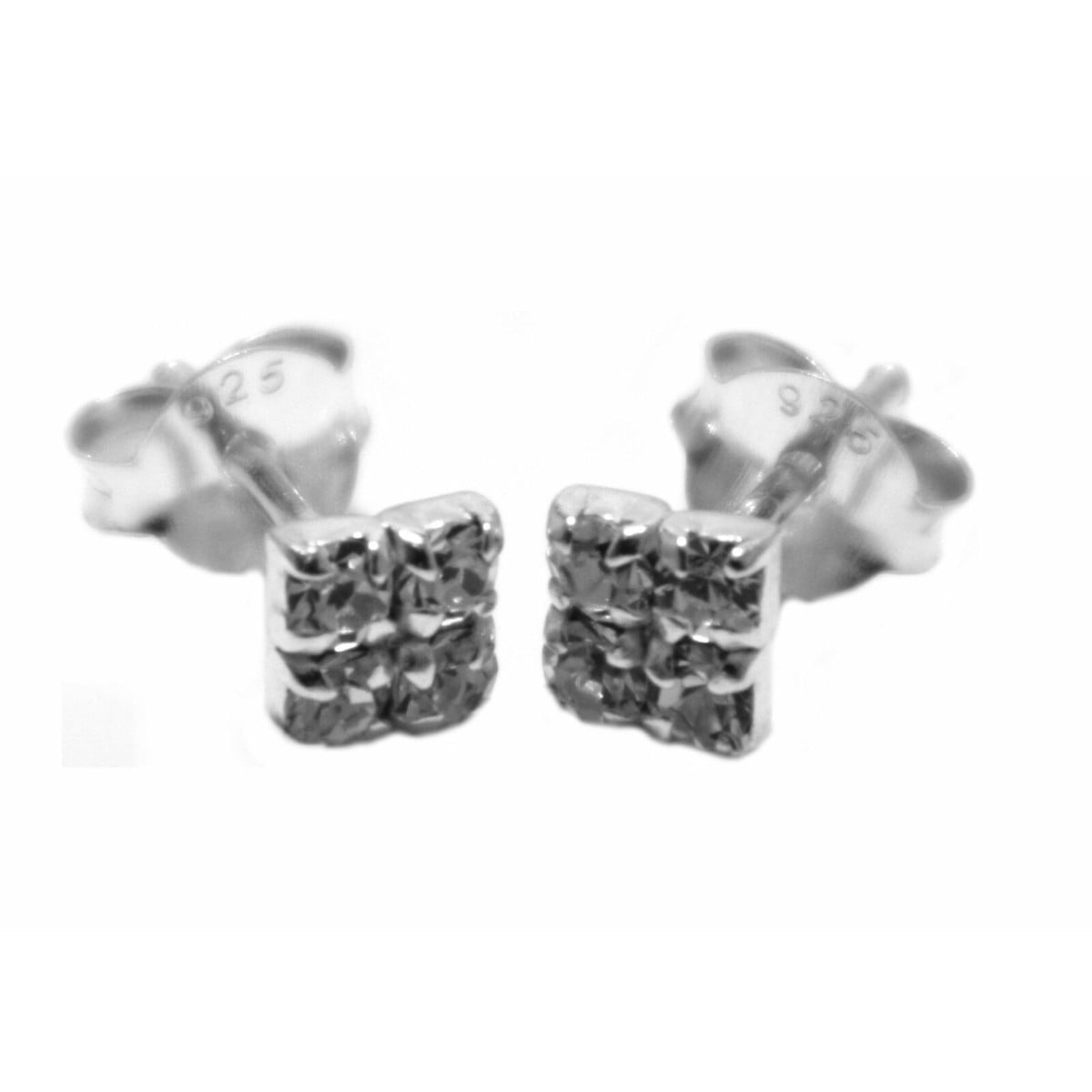 4 mm clear coloured crystal square stud earrings in sterling silver 1