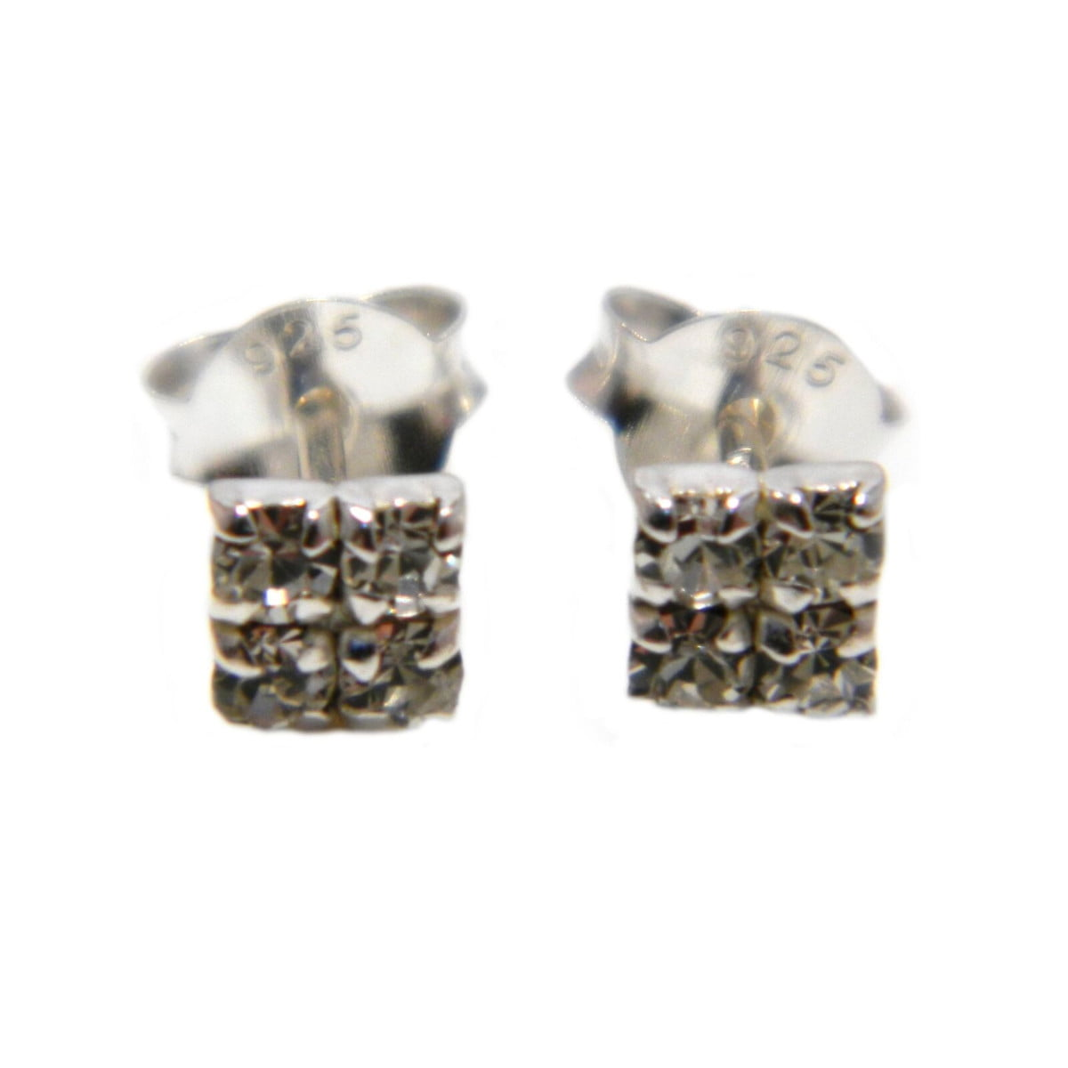 4 mm clear coloured crystal square stud earrings in sterling silver