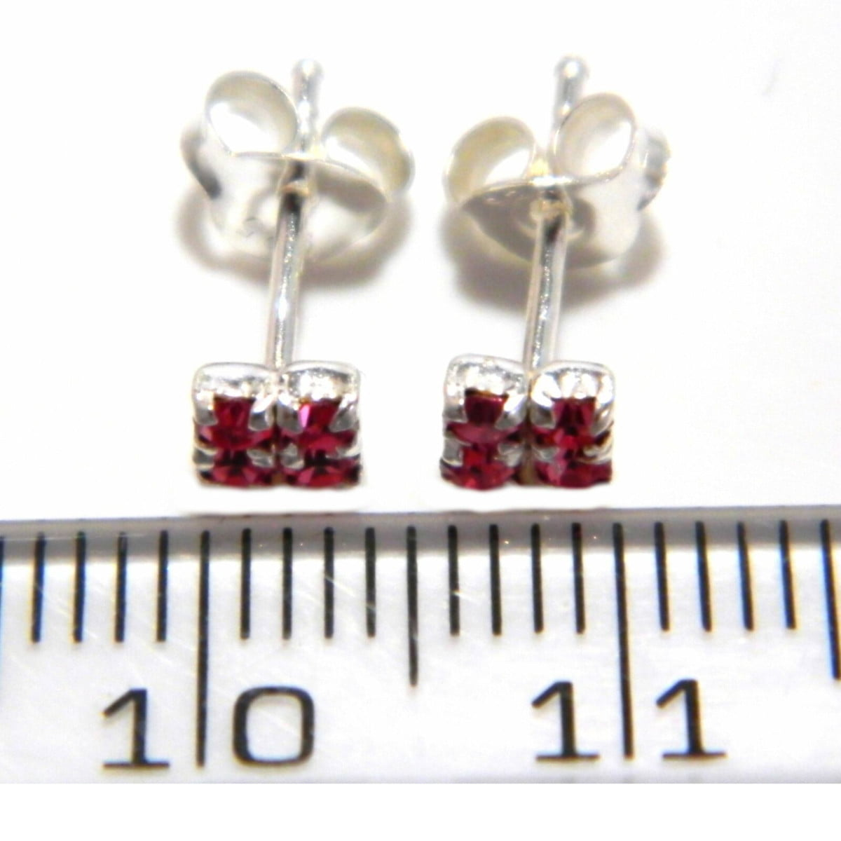 4 mm pink coloured crystal square stud earrings in sterling silver ruler