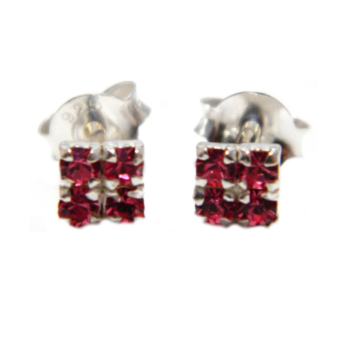 4 mm pink coloured crystal square stud earrings in sterling silver