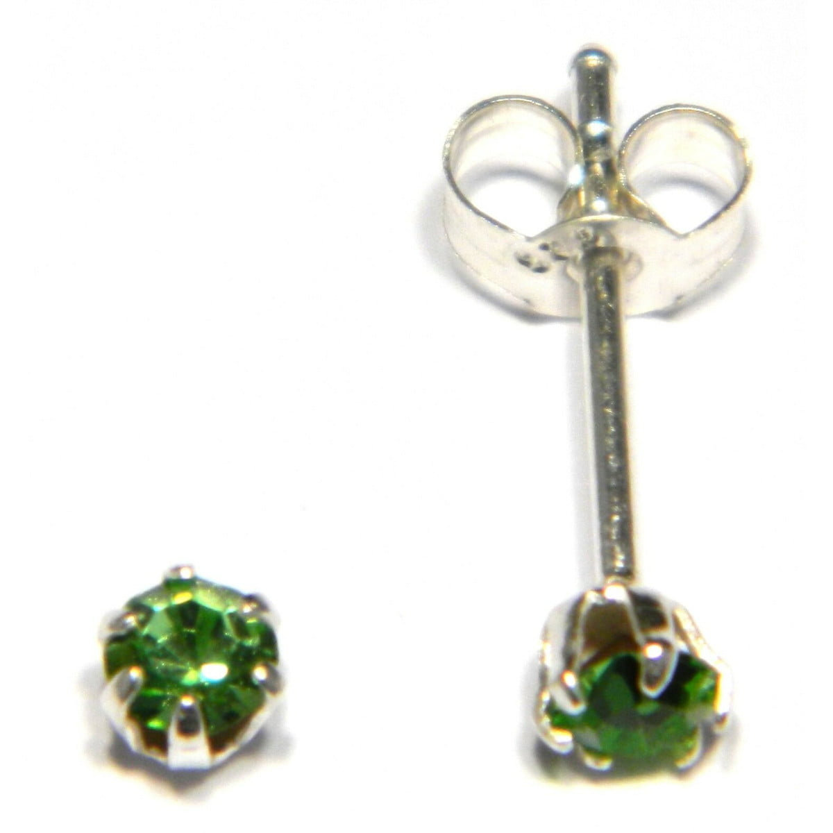 3 mm green coloured crystal stud round solitaire earrings in sterling silver