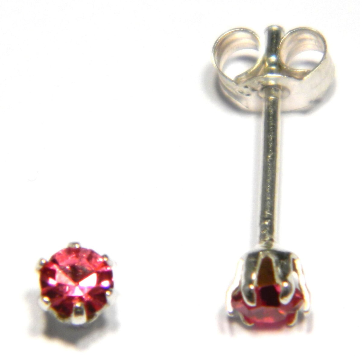 3 mm pink coloured crystal stud round solitaire earrings in sterling silver