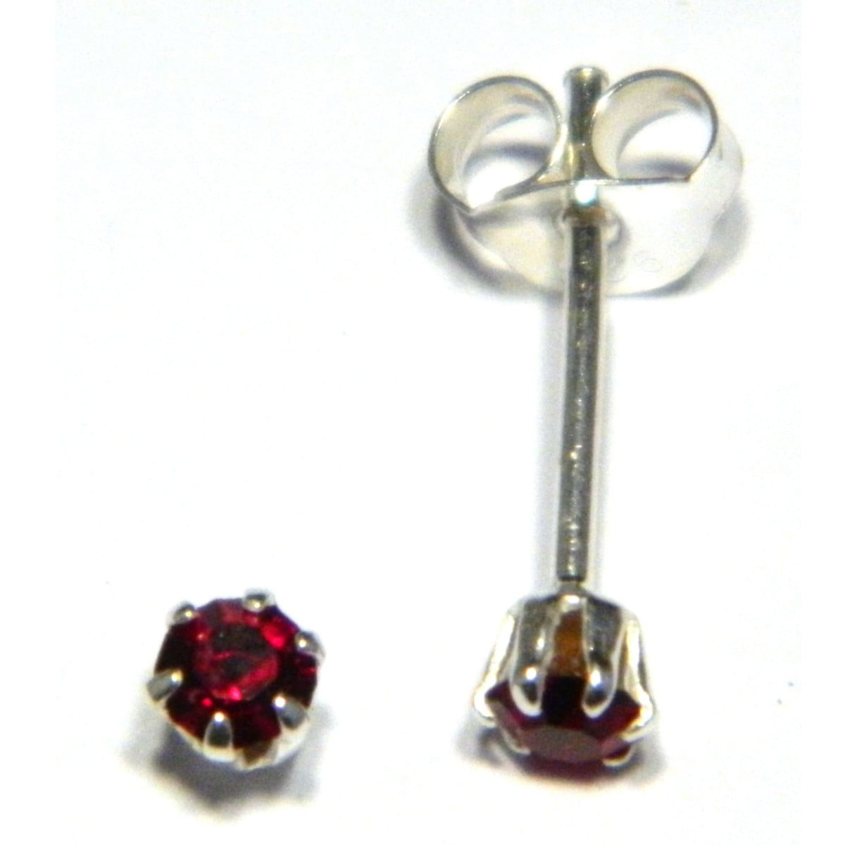 3 mm red coloured crystal stud round solitaire earrings in sterling silver