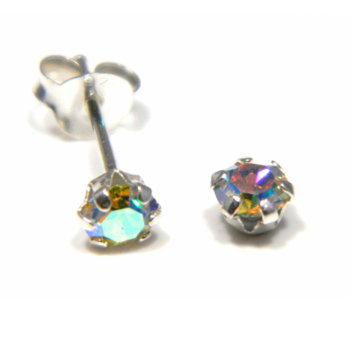 4 mm aurora borealis coloured crystal stud round solitaire earrings in sterling silver