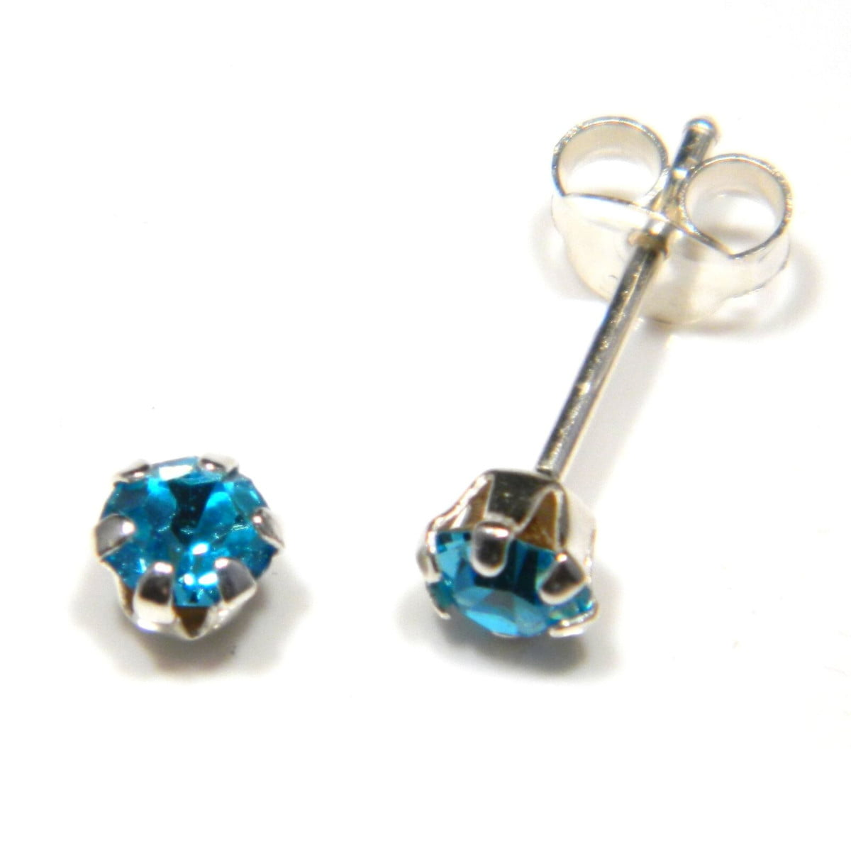 4 mm aqua blue coloured crystal stud round solitaire earrings in sterling silver