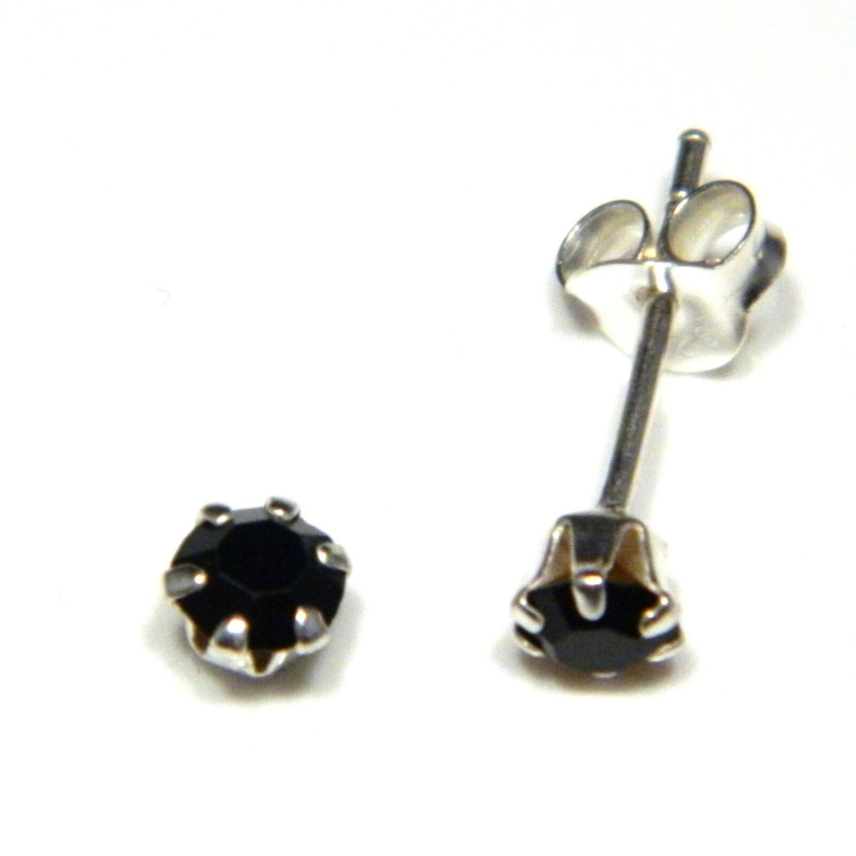 4 mm black coloured crystal stud round solitaire earrings in sterling silver