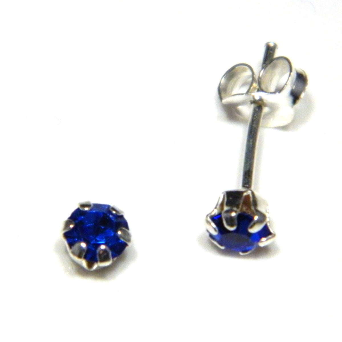4 mm blue coloured crystal stud round solitaire earrings in sterling silver