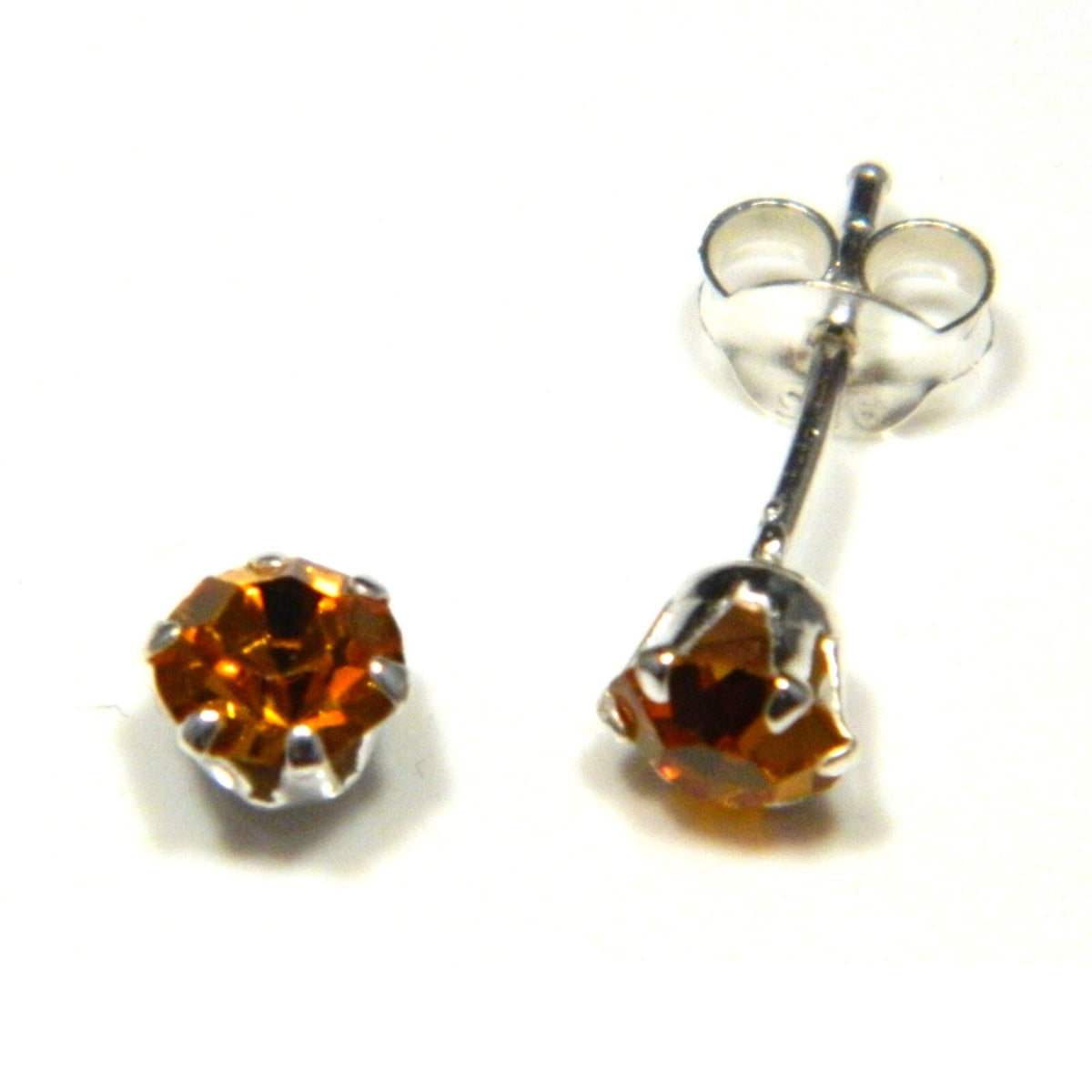 5 mm amber coloured crystal stud round solitaire earrings in sterling silver