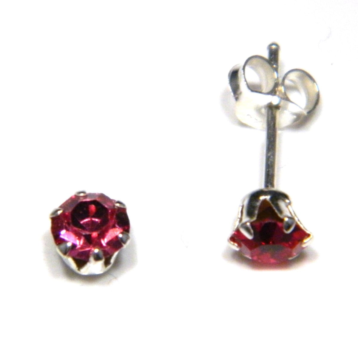 5 mm pink coloured crystal stud round solitaire earrings in sterling silver