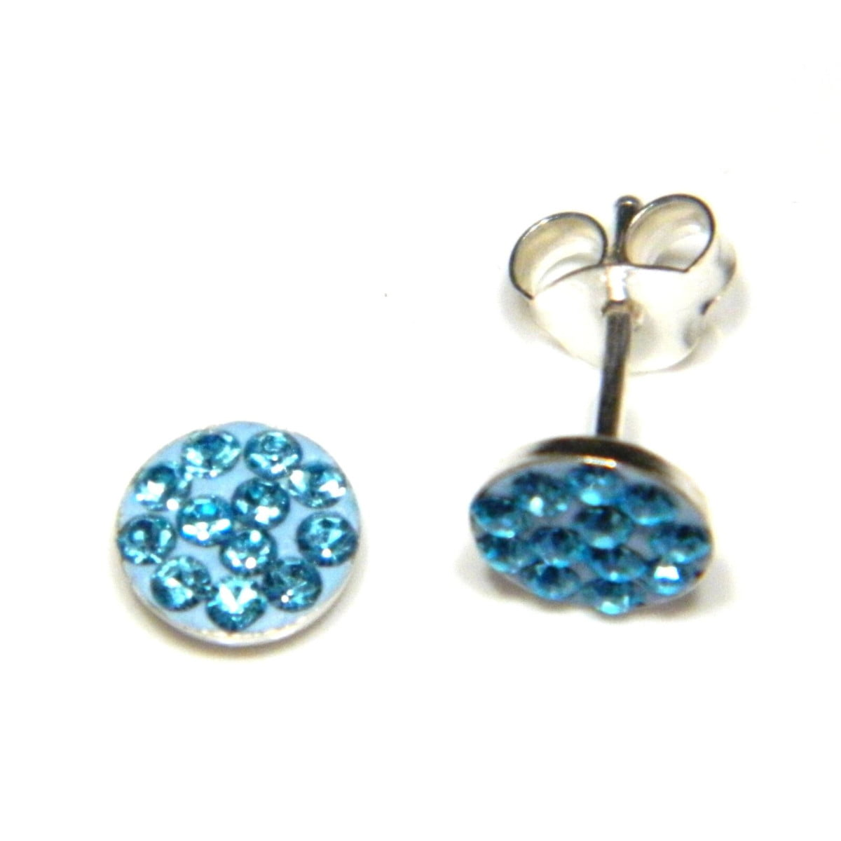 6 mm aqua blue coloured crystal round stud earrings in sterling silver