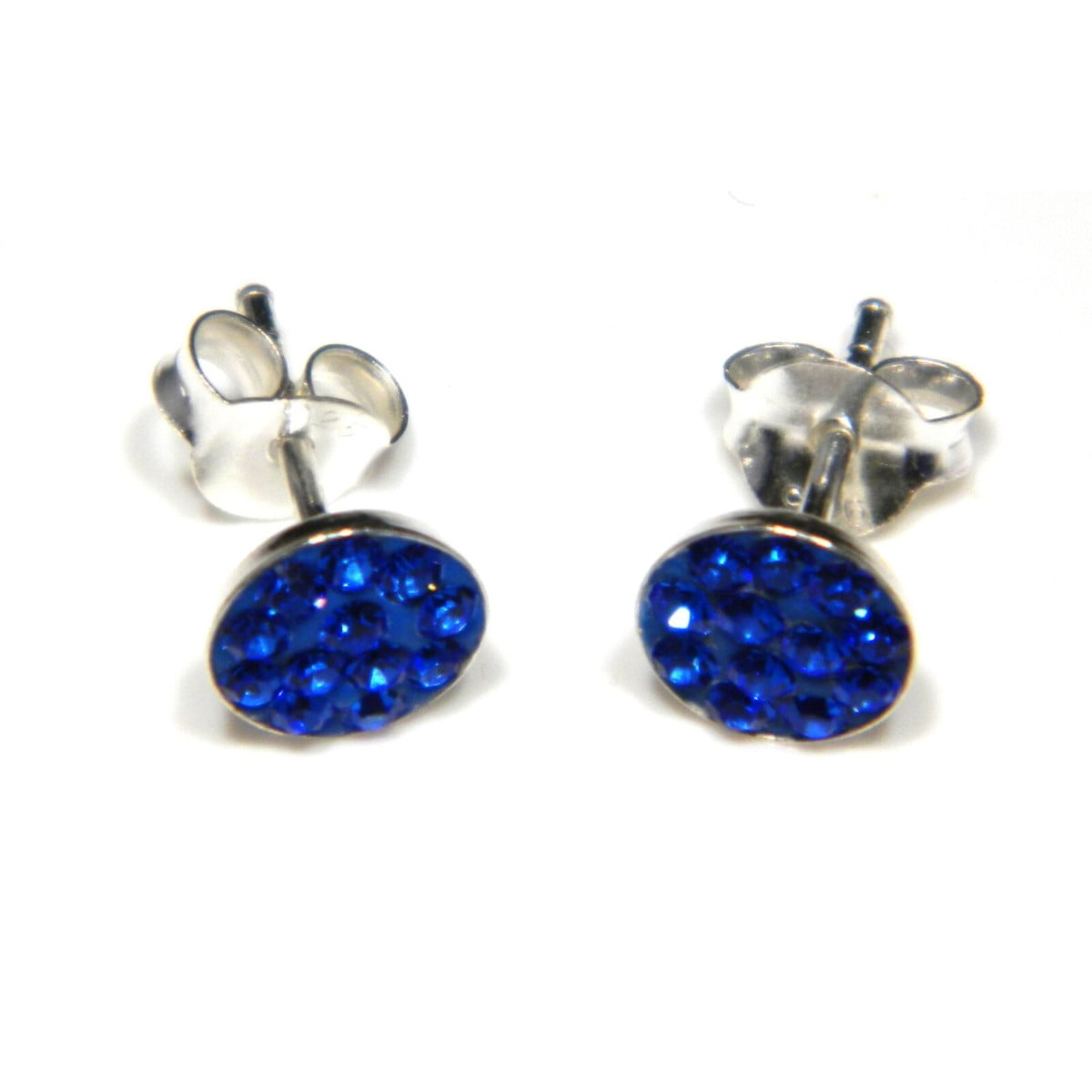 6 mm blue coloured crystal round stud earrings in sterling silver