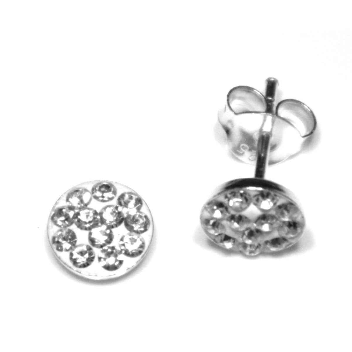 6 mm clear coloured crystal round stud earrings in sterling silver