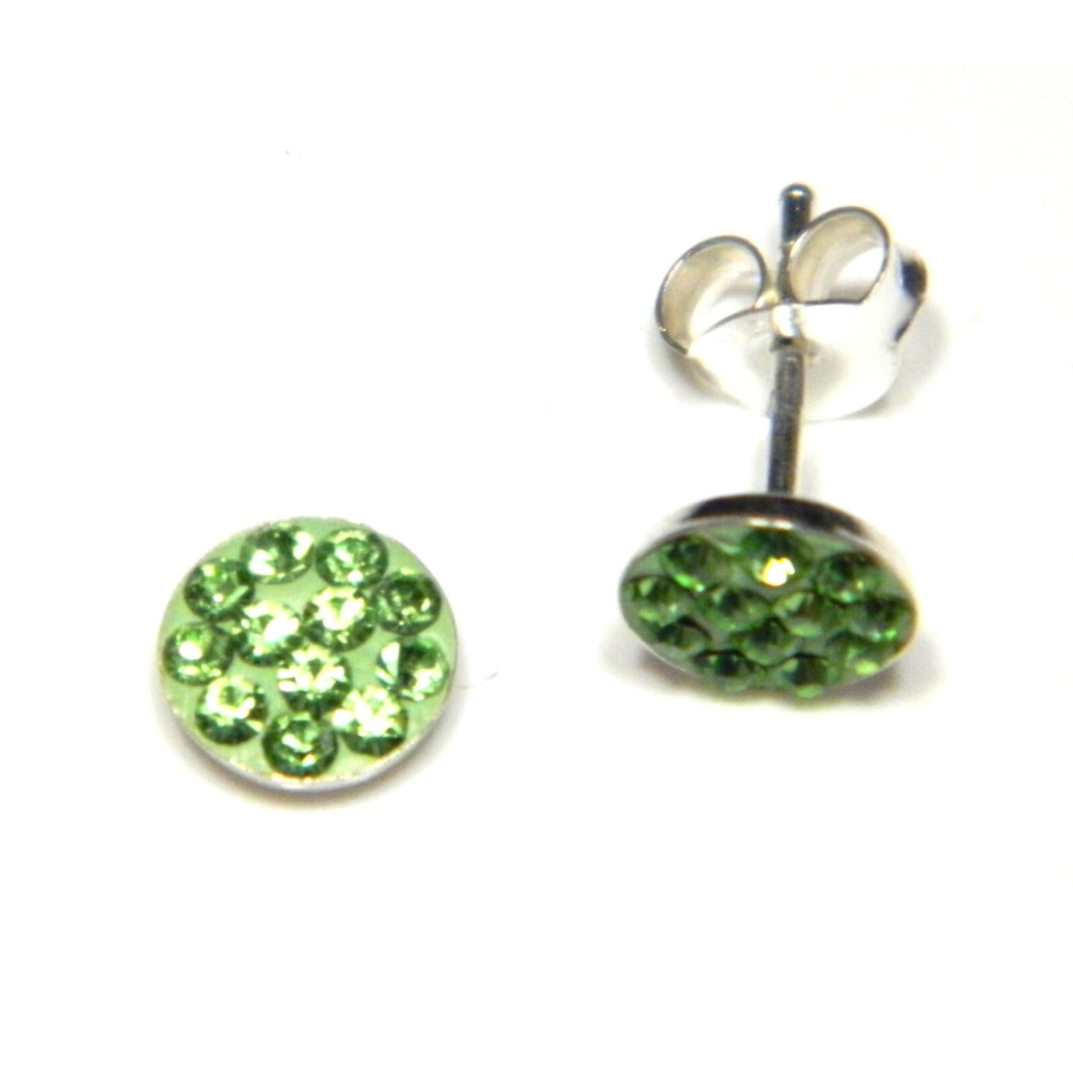 6 mm green coloured crystal round stud earrings in sterling silver