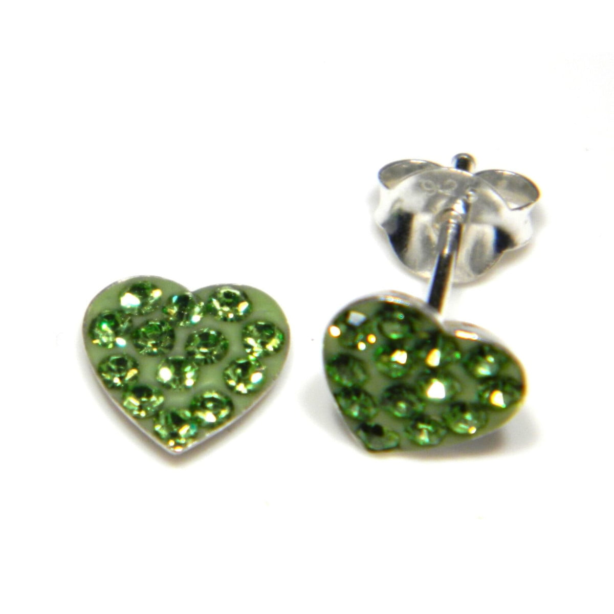 7 mm green coloured crystal heart stud earrings in sterling silver